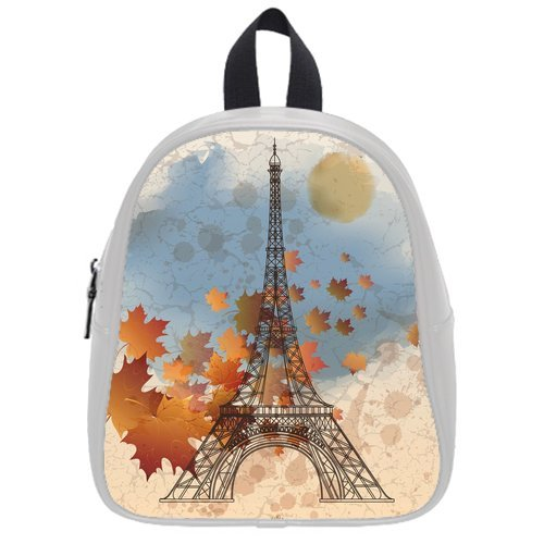 Generic Custom Maple Leaf Eiffel Tower Round Moon Printed White School Bag Backpack Fit Short Trip Pu Leather Small front-1044079