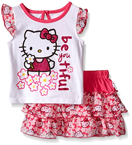 Hello Kitty Baby Girls' 2pc Top and Skirt Set, Multi/White, 12 Months