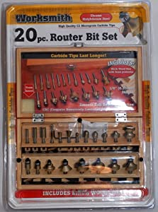 Worksmith 20-Piece Router Bit Set With Birch Wood Box