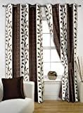 Story@Home 5 feet Set of 2 happiness 2 Piece Contemporary Pattern Polyster Curtains Coffee