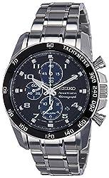 Seiko Sportura Chronograph Black Dial Mens Watch - SNAE63P1