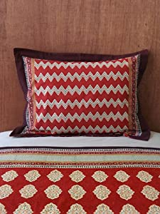 Spice Route (c) ~ Red Orange Moroccan Pillow Sham Flanged 25x31