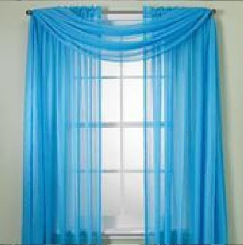 monagifts 2 panels bright turquoise sheer voile window panel curtains 59 width x 84 length
