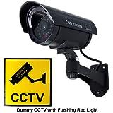 SAVFY® Fausse caméra de surveillance CCTV factice d'extérieur/interieur Dummy Camera