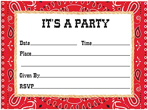 Creative Converting 8 Count Bandanarama Postcard Party Invitations, Red