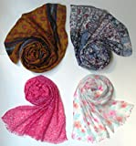 Letz Dezine Printed Poly Cotton Scarf and Stoles, Set of four mullticoloured stoles