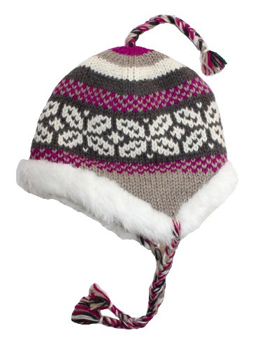 Y.A.K Apparel faux fur lined earflap hat-grey, pink, maroon-one size
