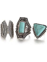 Hot And Bold Mesmerizing Midi Finger Ring For Women & Girls - Set Of 3, Turquoise