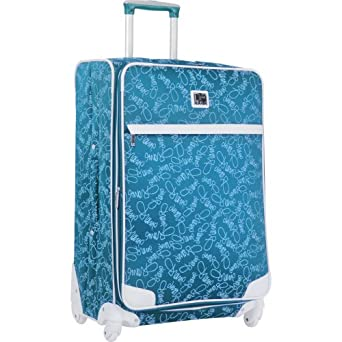 Diane Von Furstenberg Luggage Color On The Go Custom 28 Inch Expandable Spinner, Teal/White, One Size