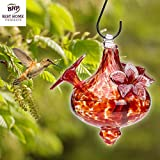 BEST HUMMINGBIRD FEEDERS --- Hand-Blown Glass Feeder | Red Bouquet Cap | Stylish, Premium, Unique | Holds 24 ounces of Nectar | Nature & Bird Lovers | Rave Reviews | 100% MONEY BACK GUARANTEE (by Best Home Products)
