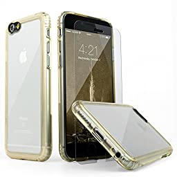 iPhone 6 Case, SaharaCase® Clear Gold + Tempered Glass Screen Protector For Apple iPhone 6s & 6 [Trusted Apple Screen Protective Kit] with Camera Image Enhancing Technology - Gold