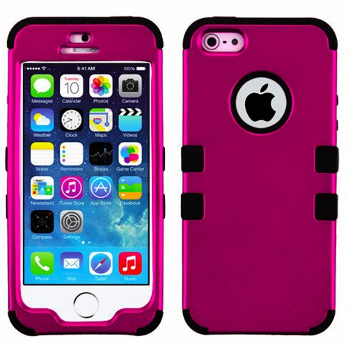 Mylife Black And Magenta - Colorful Robot Series (Neo Hypergrip Flex Gel) 3 Piece Case For Iphone 5/5S (5G) 5Th Generation Smartphone By Apple (External 2 Piece Fitted On Hard Rubberized Plates + Internal Soft Silicone Easy Grip Bumper Gel)