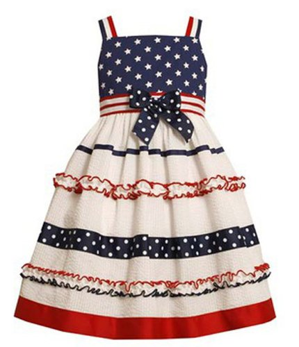 Bonnie Jean Girls 2T- 4T American Flag Sun Dress White, Blue And Red (3T) front-1062703