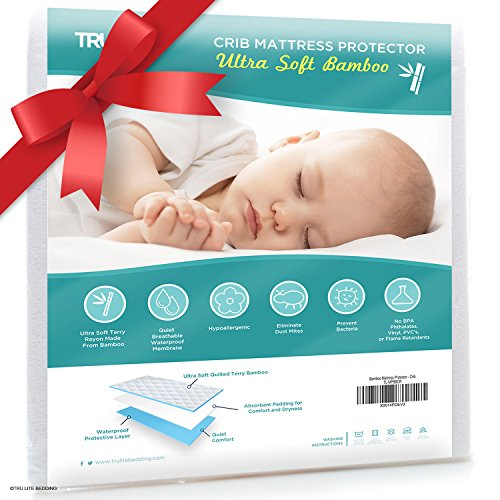 Baby Crib Mattress Protector Pad - The Softest Bamboo Rayon Fiber Quilted Terry - Waterproof & Hypoallergenic - Protect from Dust Mites & Mold - TRU Lite Bedding Crib Size (Crib Mattress Allergen Covers compare prices)