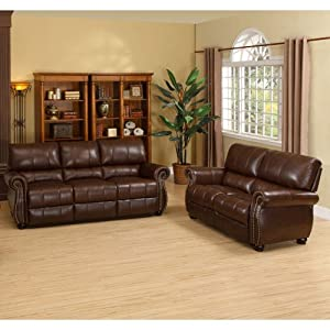 Houston Italian Leather Sofa and Loveseat Set