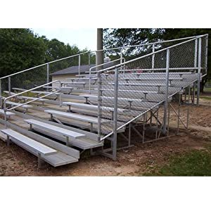 8 & 10-Row Aluminum Bleachers w Central Aisle & Railing (10 Row/140 Seat - 21 ft.)