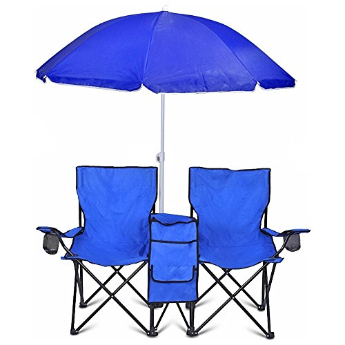 Portable folding picnic double recline chair w umbrella for Lawn chair with umbrella