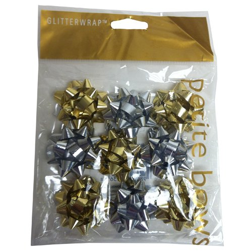 Super Tiny Gold & Silver Bows - 1 Inch Diameter - Bag of 9 bows