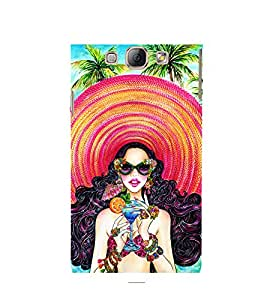 HAWAIIN GIRL WEARING A BIG BEACH HAT DRINKING A MOCKTAIL STANDING ON A BEACH 3D Hard Polycarbonate Designer Back Case Cover for Samsung Galaxy A8 :: Samsung Galaxy A8 A800F (2015)