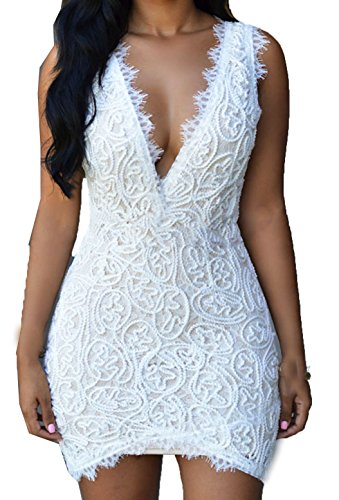 Zkess Women's Solid Sleeveless Club Lace Vintage Dress (Medium Size, White)