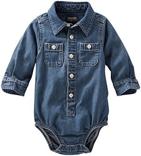 OshKosh B'gosh Baby Boys Woven Bodysuit, Denim, 9 Months