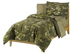 Boys Army Green Desert Camo Comforter Set