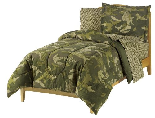 Best Deals! Dream Factory Geo Camo Army Boys Comforter Set, Green, Full