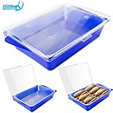 All-In-One Chafer Catering Dish, Acrylic Serving Tray, Food Platter by Cater Dome: Stackable, With Removable Food-Grade Tray, Perfect for Picnics, Parties & Barbeques (Blue)