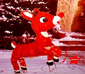 Rudolph the Red Nosed Reindeer Animated Pre-lit Yard Art Sculpture