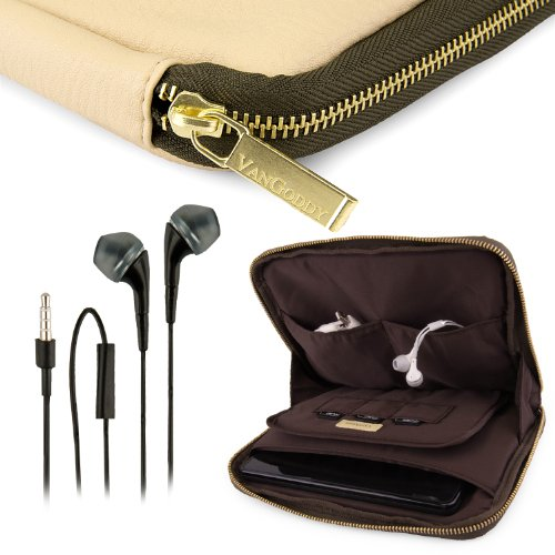 Vangoddy Irista Cover - Tan Brown Olive Green City Pro Pu Faux Leather Pouch Sleeve Fits Samsung Galaxy Tab Pro 8.4 Tablet + Black Hands-Free Earphones Headphones W/ Microphone