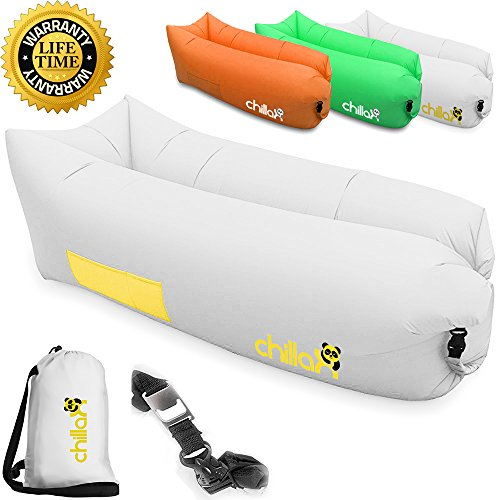 chillax inflatable lounge airbed with carry bag and bottle opener white gold. Black Bedroom Furniture Sets. Home Design Ideas
