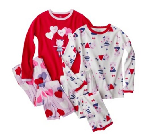 Carter'S Infant Toddler Girls' Tight Fit 4-Piece Pajama Set - Red (5T) front-173807