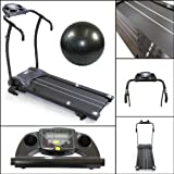 Gym Master Motorised 1.5 HP Electric Treadmill in Black includes Free Balance Ball.