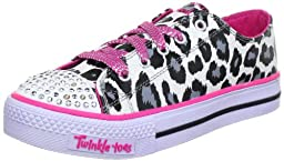 SKECHERS Tod/Yth Twinkle Toes-Shuffles 10272L Lights, White-4 Youth
