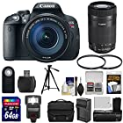 Canon EOS Rebel T5i Digital SLR Camera & EF-S 18-135mm & 55-250mm IS STM Lens with 64GB Card + Battery/Charger + Case + Flash + Grip + Filters Kit
