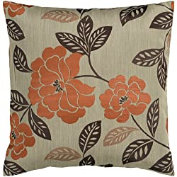 "22"" Orange and Chocolate Brown Romantic Floral Decorative Throw Pillow"