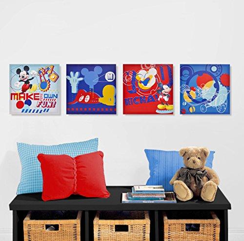 Disney Mickey Mouse Canvas Wall Art (4-Piece) disney minnie mouse canvas wall art 4 piece