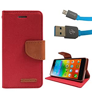 DMG Premium Canvas Diary Wallet Folio Book Cover for Lenovo K3 Note (Red) + Micro USB Data Cable
