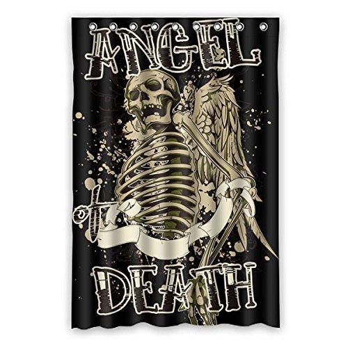 """Elementi di stile punk Avantgarde. Angelo del cranio. MORTE DI ANGEI. Colore di sfondo è nero Disegno 100% poliestere tessuti impermeabile bagno Shower Curtain 48""""x72"""" (120cm x 183cm)"""
