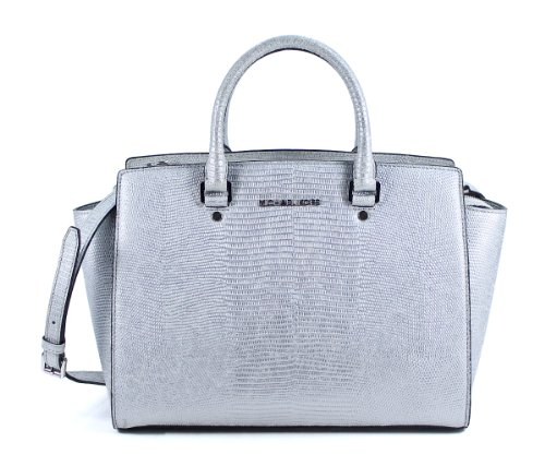 Michael Kors Selma Large Top Zip Satchel Silver Leather Shoulder Bag Purse