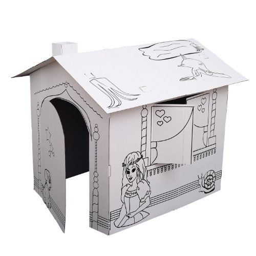 Kids Folding Cardboard Paper House Coloring Walk in Playhouse Kit - Princess