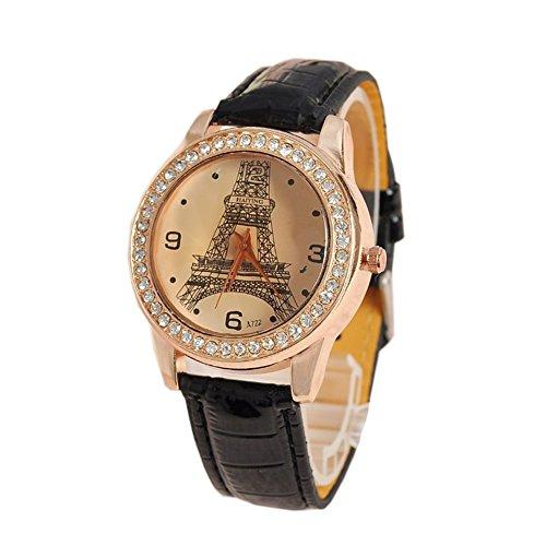 Dayan Women'S Eiffel Tower Design Pu Analog Quartz Wrist Fashion Watch Black