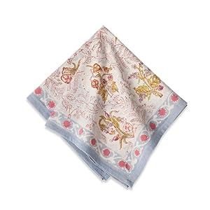 Couleur Nature Petite Fleur Cloth Napkins, 19 by 19-Inch, Blue, Set of 6