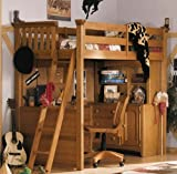 Twin Lea My Place Wood Loft Bunk Bed in Maple Finish