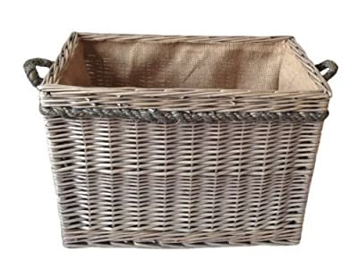 Delux , Rectangular , Hessian Lined Log Basket. Antique wash finish. Full cane willow. Rope handled