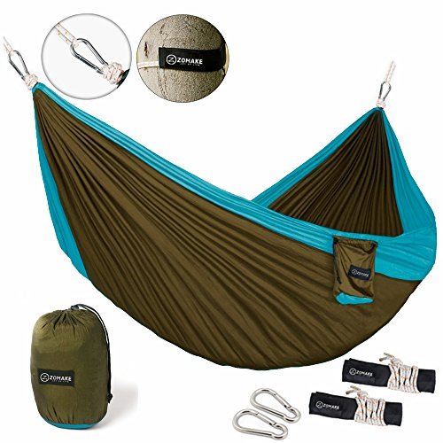 ZOMAKE-Double-Camping-Hammock-Portable-High-Strength-Hammock-Lightweight-Blend-Color-Nylon-Fabric-Parachute-for-Outdoor-Hammock-Straps-Steel-Carabiners-Included