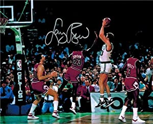 Larry Bird Autographed Hand Signed Boston Celtics Jump Shot vs Michael Jordan 8x10... by Hall of Fame Memorabilia