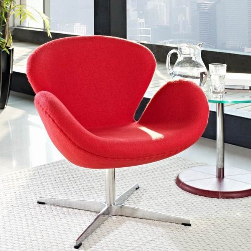 CCA037B RED - Designer Office Furnitur Swan Chair & Red Fabric Living Room Armchair