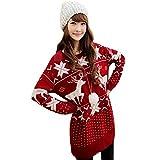 Asoidchi Women Girls Deer Maple Leaf Deer Jubilant Red Sweater Size S