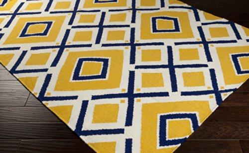 Jill Rosenwald by Surya Fallon FAL-1085 Flatweave Hand Woven 100% Wool Navy 5' x 8' Geometric Area Rug